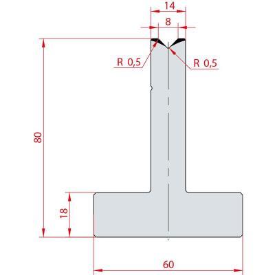 3081: Matrice en T acier C45 V:8 à 88° H:80