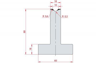 3082: Matrice en T acier C45 V:10 à 88° H:80