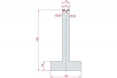 3083: Matrice en T acier C45 V:6 à 88° H:120