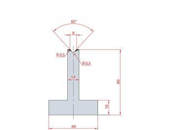 3087: Matrice en T acier C45 V:8 à 85° H:80