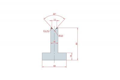 3089: Matrice en T acier C45 V:12 à 85° H:80
