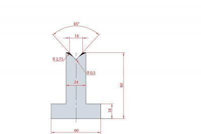 3090: Matrice en T acier C45 V:16 à 85° H:80