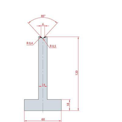 3093: Matrice en T acier C45 V:6 à 85° H:120