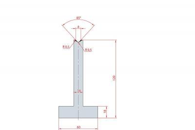 3094: Matrice en T acier C45 V:8 à 85° H:120