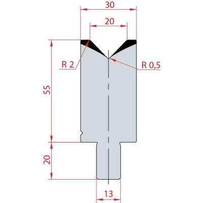 3109: Matrice Bystronic Beyeler V:20 à 88° H: 55