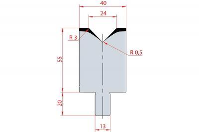 3110: Matrice Bystronic Beyeler V:24 à 88° H: 55