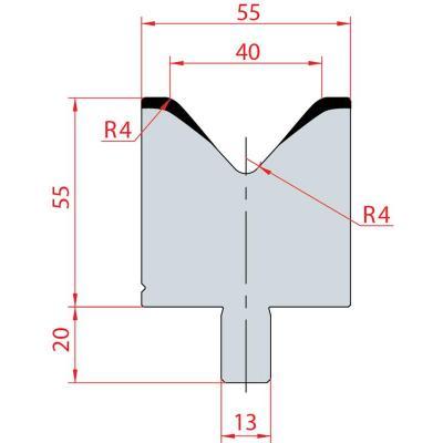 3112: Matrice Bystronic Beyeler V:40 à 85° H: 55