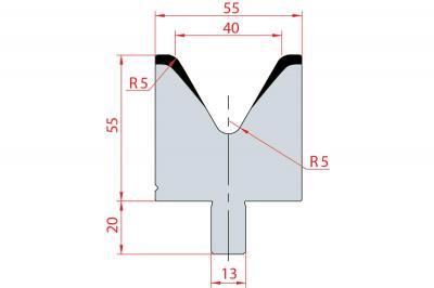 3113: Matrice Bystronic Beyeler V:40 à 60° H: 55