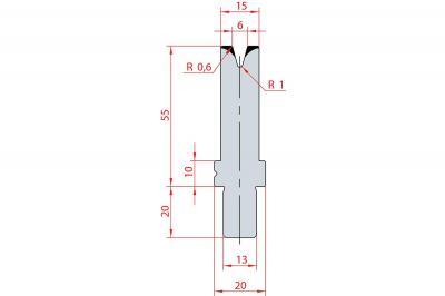 3115: Matrice Bystronic Beyeler V:6 à 30° H: 55