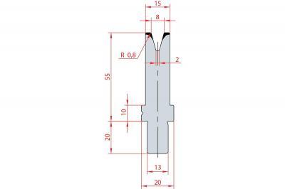 3116: Matrice Bystronic Beyeler V:8 à 30° H: 55