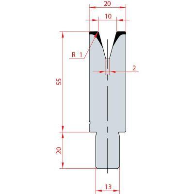 3117: Matrice Bystronic Beyeler V:10 à 30° H: 55