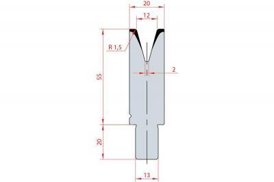3118: Matrice Bystronic Beyeler V:12 à 30° H: 55