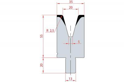 3120: Matrice Bystronic Beyeler V:20 à 30° H: 55
