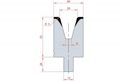 3121: Matrice Bystronic Beyeler V:24 à 30° H: 55