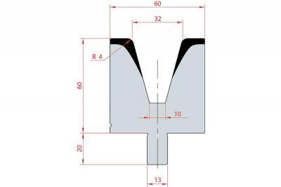 3122: Matrice Bystronic Beyeler V:32 à 30° H: 65