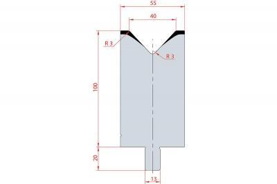 3131: Matrice Trumpf Wila V:40 à 86° H: 100