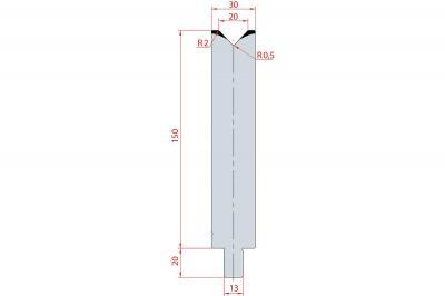3148: Matrice Trumpf Wila V:20 à 86° H: 150