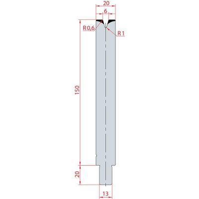 3150: Matrice Trumpf Wila V:6 à 30° H: 150
