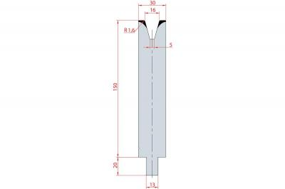 3154: Matrice Trumpf Wila V:16 à 30° H: 150