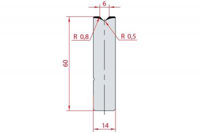 3159: Insert matrice à 88°, hauteur 60 mm, V6