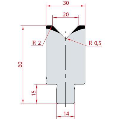 3164: Insert matrice à 88°, hauteur 60 mm, V20