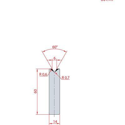 3193: Insert matrice à 60°, hauteur 60 mm, V6