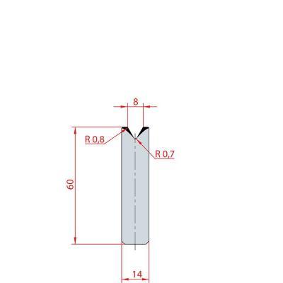 3194: Insert matrice à 60°, hauteur 60 mm, V8
