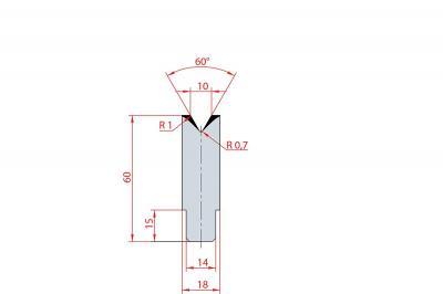 3195: Insert matrice à 60°, hauteur 60 mm, V10