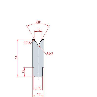 3196: Insert matrice à 60°, hauteur 60 mm, V12