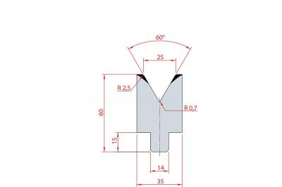 3199: Insert matrice à 60°, hauteur 60 mm, V25