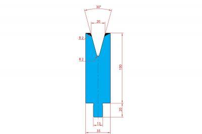 3211: Matrice Trumpf Wila V:20 à 30° H: 100