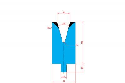 3213: Matrice Trumpf Wila V:30 à 30° H: 100