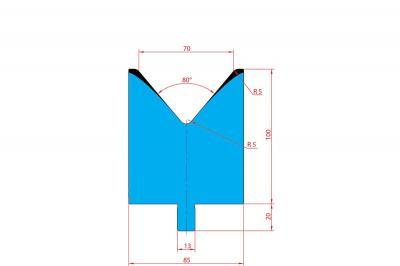 3220: Matrice Trumpf Wila V:70 à 80° H: 100