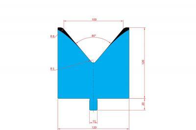 3223: Matrice Trumpf Wila V:100 à 80° H: 100