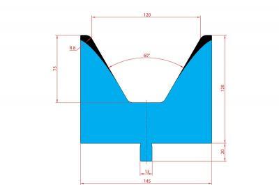3224: Matrice Trumpf Wila V:120 à 60° H: 100