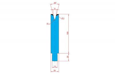 3237: Matrice Trumpf Wila V:8 à 30° R3 H: 100