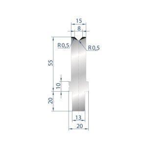 3242: Matrice Bystronic Beyeler V:8 à 88° H: 55