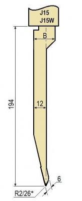 J15W: Poinçon 26° r2 h 194 mm