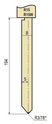 R15W: Poinçon 78° r3 h 194 mm