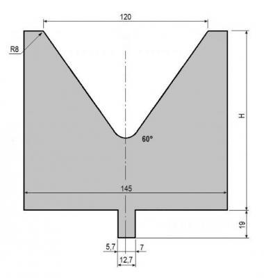 V120-60: matrice V120 à 60°, H130 mm