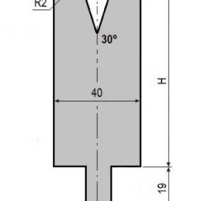 V16-30: matrice V16 à 30°, H90 mm