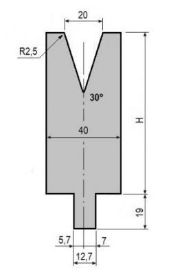 V20-30: matrice V20 à 30°, H90 mm