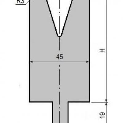 V24-30: matrice V24 à 30°, H90 mm