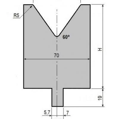 V50-60: matrice V50 à 60°, H90 mm