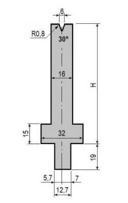 V6-30: matrice V6 à 30°, H90 mm