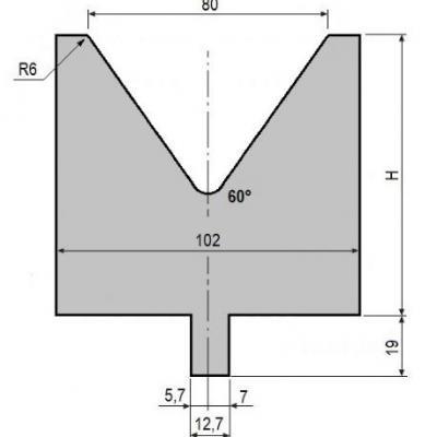 V80-60: matrice V80 à 60°, H90 mm